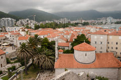View of the old town of Budva. Against the background of the mountains Royalty Free Stock Photos