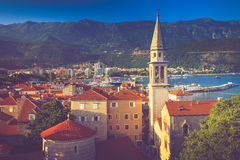 View of the old town of Budva in summertime. Montenegro. Royalty Free Stock Image