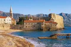 View of Old Town of Budva on a sunny winter day. Montenegro. Old Town of Budva on a sunny winter day. Montenegro Royalty Free Stock Image