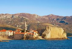 View of Old Town of Budva on a sunny winter day. Montenegro. Picturesque view of Old Town of Budva on a sunny winter day. Montenegro Stock Image