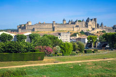 View of the old town Carcassonne, Southern France. Stock Photos