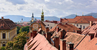 View of the old town center of Graz from the staircase of Castle Schlossberg Hill Royalty Free Stock Images