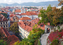 View of the old town center of Graz from the staircase of Schlossberg Hill. Graz, Austria. Stock Images