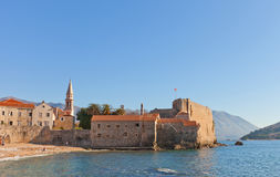 View of Old Town and Citadel in Budva, Montenegro Stock Photos