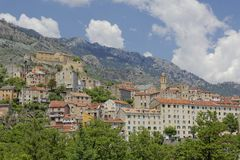 View of the the old town and Citadel, Corte, Central Corsica, France Stock Photo