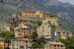 View of the the old town and Citadel, Corte, Central Corsica, France Royalty Free Stock Photos