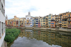 View of the old town with colorful houses on the bank of the river Onyar. GIRONA, SPAIN Stock Photography