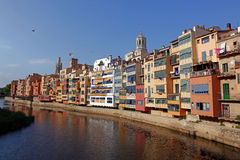 View of the old town with colorful houses Girona. Stock Photo
