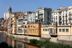 View of the old town with colorful houses reflected in water Jew Royalty Free Stock Photography