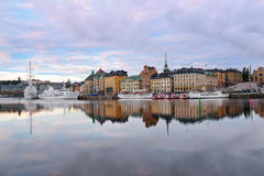 View on Old Town at dawn. Stockholm. Sweden Stock Photography
