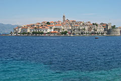 View of Old Town Dubrovnik from the Adriatic Sea. View of medieval red-tiled roofed Dubrovnik Croatia from the Adriatic Sea Royalty Free Stock Image