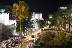 A View of the Old Town of Dubrovnik in the Night Royalty Free Stock Photos