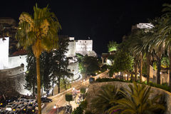 A View of the Old Town of Dubrovnik in the Night Stock Image