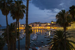 A View of the Old Town of Dubrovnik (Palms and Harbour in the Ni Stock Images