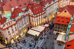 View of old town at evening in Prague. Stock Photo