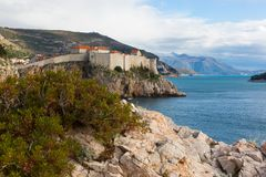 View of the old town and fortification wall in Dubrovnik Royalty Free Stock Images