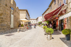 View the old town in the fortress of Carcassonne, France. Carcassonne - a French commune, located in the department of Aude in the region of Languedoc Royalty Free Stock Photo