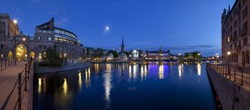 Gamla stan in Stockholm. A view of the old town, or gamla stan in Stockholm, Sweden, at night royalty free stock photography