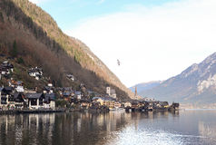 View of old town Hallstatt Village in early winter. Austria stock photography