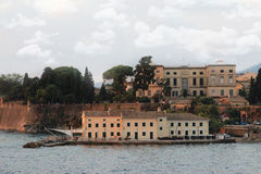 View on old town from the ionian sea. Sunrise over the old city Royalty Free Stock Photo