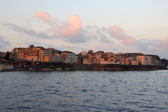 View on old town from the ionian sea. Sunrise over the old city Stock Photography