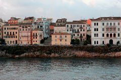 View on old town from the ionian sea. Sunrise over the old city. Stock Photo