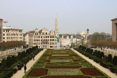View on the Brussels Old Town from the Mont des Arts Royalty Free Stock Photo