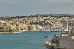 View of old town and its port in Valletta in Malta.  Stock Photo