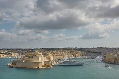 View of old town and its port in Valletta in Malta.  Royalty Free Stock Images