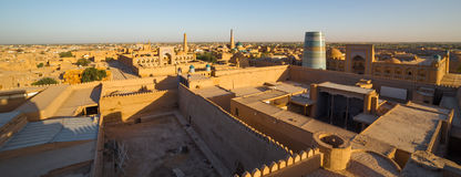 View of the old town of Khiva, in Uzbekistan. View of Khiva from the watchtower of the Khuna Ark, the fortress in Ichon-Qala, the old town of Khiva, in stock photography