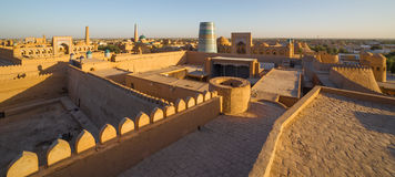 View of the old town of Khiva, in Uzbekistan. View of Khiva from the watchtower of the Khuna Ark, the fortress in Ichon-Qala, the old town of Khiva, in royalty free stock images