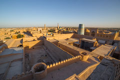 View of the old town of Khiva, in Uzbekistan. View of Khiva from the watchtower of the Khuna Ark, the fortress in Ichon-Qala, the old town of Khiva, in stock photos