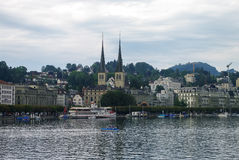View of old town and lake with the towers of the Church of St. L Royalty Free Stock Images