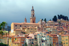 View of old town in Menton. French azure coast Royalty Free Stock Photography