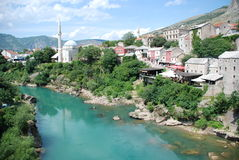View at the Old Town in Mostar. Bosnia and Herzegovina Royalty Free Stock Image