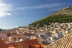 View of Old Town and Mount Srd in Dubrovnik Royalty Free Stock Photo