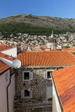 View of Old Town and Mount Srd in Dubrovnik Stock Photography