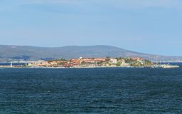 View of the Old Town of Nessebar from sea, Bulgaria Royalty Free Stock Photography