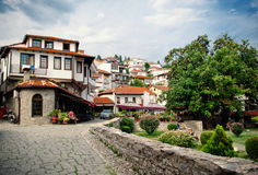 View on old town of Ohrid in Macedonia Royalty Free Stock Photo