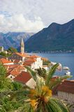 View of old town of Perast on the Bay of Kotor Adriatic Sea. Montenegro Royalty Free Stock Photography