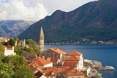 View of old town of Perast with bell tower of church of St. Nicholas. Bay of Kotor, Montenegro Royalty Free Stock Photo