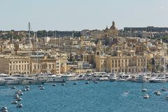 View of an old town and port area of Valletta in Malta.  Stock Photo