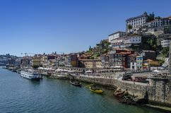 View of Old Town of Porto, Portugal. Porto, Portugal - August 2014: view of Old Town of Porto, Portugal. Ribeira and Douro river royalty free stock photo