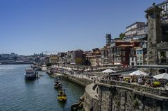 View of Old Town of Porto, Portugal. Porto, Portugal - August 2014: view of Old Town of Porto, Portugal. Ribeira and Douro river stock images
