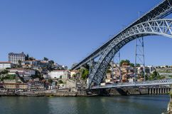 View of Old Town of Porto, Portugal. Ribeira and Douro river. Porto, Portugal - August 2014: view of Old Town of Porto, Portugal. Ribeira and Douro river stock photography