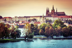 View of old town and Prague castle Royalty Free Stock Photos