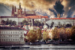 View of old town and Prague castle. With river Vltava at sunset stock images