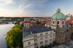 View of the Old Town in Prague in the early evening stock photo