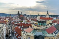 Old town of Prague. View of the old town of Prague in the evening Stock Image