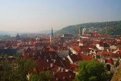 View of the old town of Prague - the red roofs Stock Images